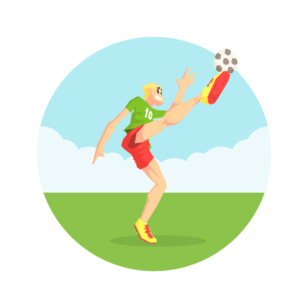 Male Soccer Player in Sports Uniform Kicking Ball on Soccer Field Vector Illustration on White Background. Ilustração