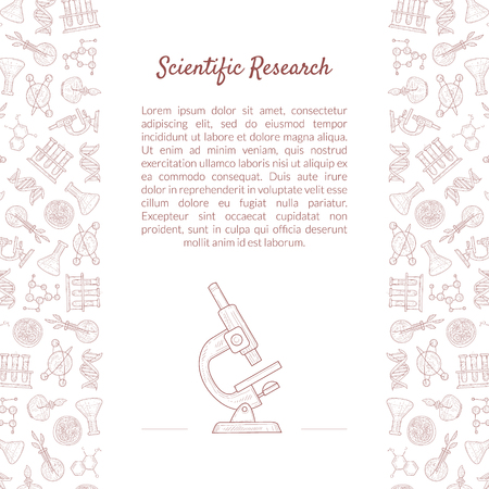 Scientific Research Banner Template with Place for Text and Laboratory Equipment Pattern, Medicine, Science, Technology Vector Illustration