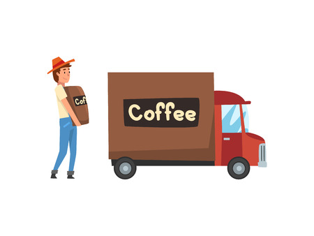 Man Loading Coffee Bags into Delivery Truck, Coffee Industry Production Stage Vector Illustration on White Background.