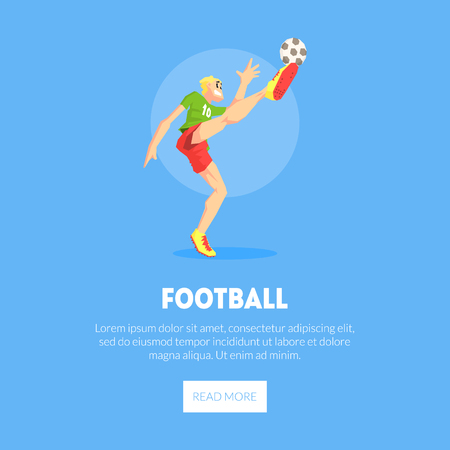 Male Football Player in Sports Uniform Kicking Ball Banner Template, Design Element Can Be Used for Landing Page, Mobile App, Website Vector Illustration