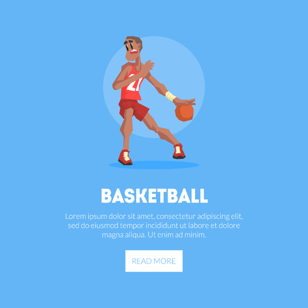 Male Basketball Player in Sports Uniform Playing with Ball Banner Template, Design Element Can Be Used for Landing Page, Mobile App, Website Vector Illustration on Blue Background. Illustration