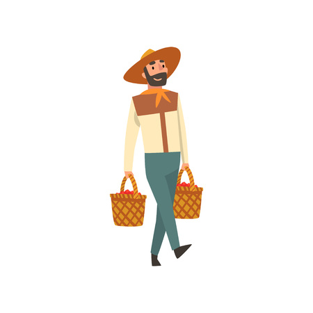 Smiling Male Farmer in Straw Hat Carrying Baskets Full of Coffee Beans, Coffee Harvesting Industry Production Stage Vector Illustration on White Background.