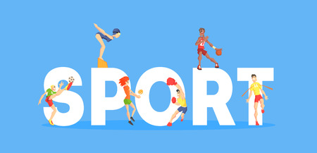 Sport Banner Template, People People Doing Different Kinds of Sports, Design Element Can Be Used for Landing Page, Mobile App, Wallpaper Vector Illustration on Blue Background.