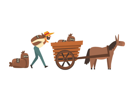 Male Farmer in Straw Hat Loading Coffee Bags into Donkey Cart, Coffee Industry Production Stage Vector Illustration on White Background. Ilustração