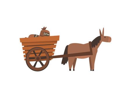 Esel, der hölzernen Wagen mit Kaffeesäcken, Kaffeeindustrie-Produktionsstufe-Vektor-Illustration auf weißem Hintergrund zieht.
