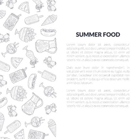 Summer Food Banner Template with Place for Text and Hand Drawn Pattern, Summertime, Holidays Design Element Vector Illustration