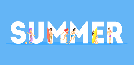 Summer Word and Happy People in Beachwear Standing Near Letters Vector Illustration Ilustrace