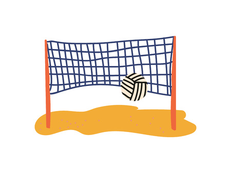Beach Volleyball Court, Ball and Net, Summer Travel Symbol Vector Illustration on White Background. Illustration