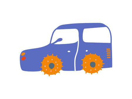 Cute Blue Car, Side View Cartoon Vector Illustration