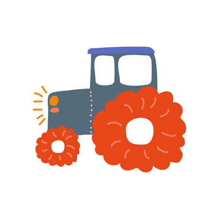 Tractor, Heavy Agricultural Industrial Machinery, Side View, Cartoon Vector Illustration on White Background.