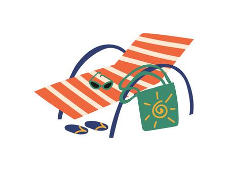 Beach Chaise Longue, Summer Travel Symbol Vector Illustration on White Background. Illustration