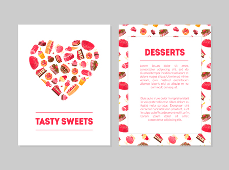 Tasty Sweets Desserts Banner Templates Set with Sweets Pattern and Place for Text, Candy Shop, Restaurant, Cafe, Confectionery, Bakery Design Element Vector Illustration