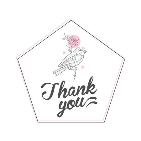 Thank You Handwritten Inscription, Design Element with Flowers Can Be Used for Gift or Greeting Card, Invitation, Flyer, Banner, T-shirt Print Hand Drawn Vector Illustration on White Background.