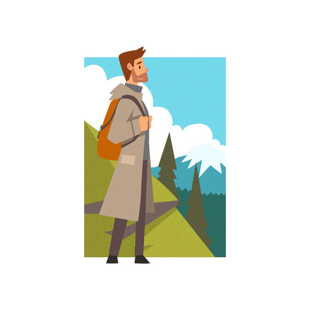 Man Hiking in Mountains with Backpack, Outdoor Activity, Travel, Camping, Backpacking Trip or Expedition Vector Illustration on White Background.