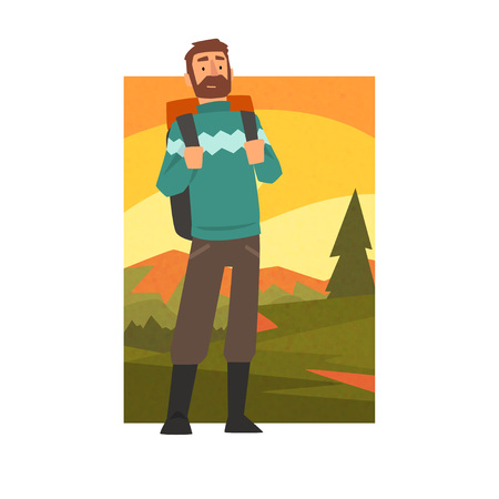 Bearded Man in Summer Mountain Landscape, Outdoor Activity, Travel, Camping, Backpacking Trip or Expedition Vector Illustration on White Background.
