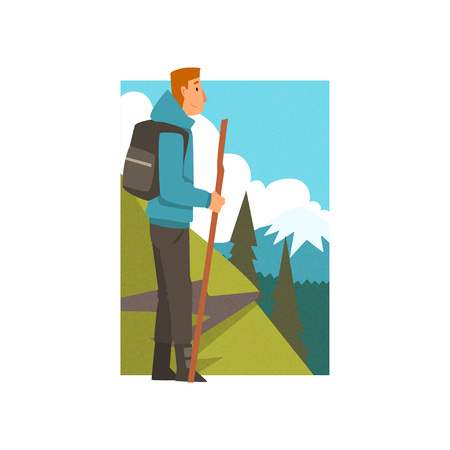 Man Hiking in Mountains with Backpack and Staff, Guy in Summer Mountain Landscape, Outdoor Activity, Travel, Camping, Backpacking Trip or Expedition Vector Illustration on White Background.