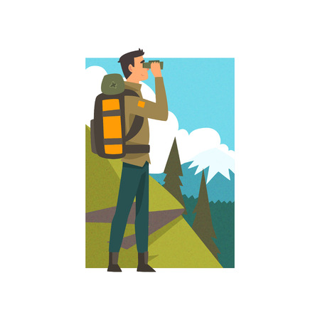 Man with Backpack and Binoculars in Summer Mountain Landscape, Outdoor Activity, Travel, Camping, Backpacking Trip or Expedition Vector Illustration on White Background.