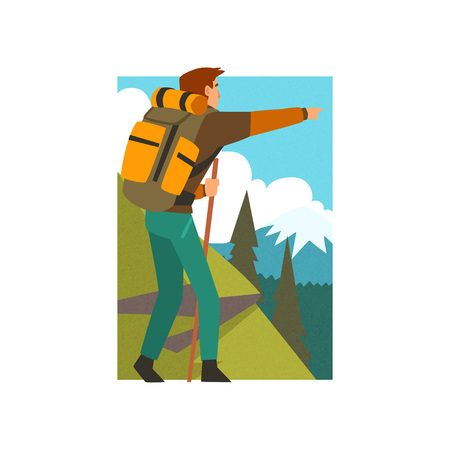 Male Tourist Hiking in Mountains with Backpack and Staff, Man Pointing at Something in Summer Mountain Landscape, Outdoor Activity, Travel, Camping, Backpacking Trip or Expedition Vector Illustration on White Background. Stock Illustratie