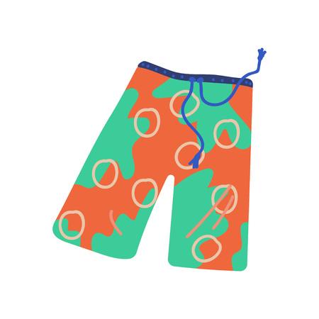 Pantaloncini da spiaggia per uomini, illustrazione vettoriale di simbolo di viaggio estivo su sfondo bianco. Vettoriali