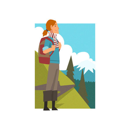 Girl with Backpack in Summer Mountain Landscape, Outdoor Activity, Travel, Camping, Backpacking Trip or Expedition Vector Illustration on White Background. Ilustrace