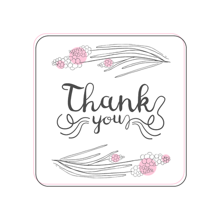 Thank You Handwritten Inscription, Design Element Can Be Used for Gift or Greeting Card, Invitation, Flyer, Banner, T-shirt Print Hand Drawn Vector Illustration on White Background.