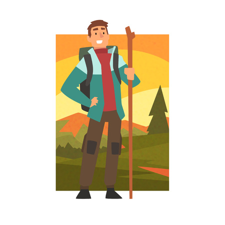 Smiling Man Hiking in Mountains with Backpack and Staff, Outdoor Activity, Travel, Camping, Backpacking Trip or Expedition Vector Illustration on White Background.