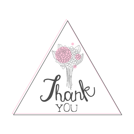 Thank You Handwritten Inscription, Design Element with Bouquet of Flowers Can Be Used for Gift or Greeting Card, Invitation, Flyer, Banner, T-shirt Print Hand Drawn Vector Illustration
