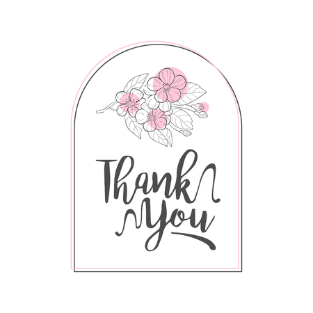 Thank You Handwritten Inscription, Elegant Card with Flowers, Design Element Can Be Used for Gift or Greeting Card, Invitation, Flyer, Banner, T-shirt Print Hand Drawn Vector Illustration on White Background.