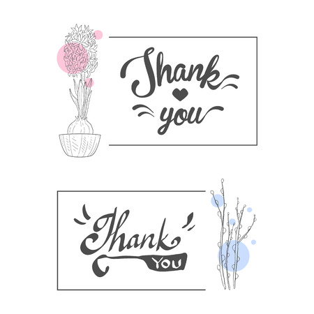 Thank You Handwritten Inscription, Elegant Cards with Flowers, Design Element Can Be Used for Gift or Greeting Card, Invitation, Flyer, Banner Hand Drawn Vector Illustration