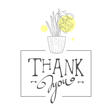 Thank You Handwritten Inscription, Elegant Card with Bouquet of Flowers, Design Element Can Be Used for Gift or Greeting Card, Invitation, Flyer, Banner, T-shirt Print Hand Drawn Vector Illustration on White Background.