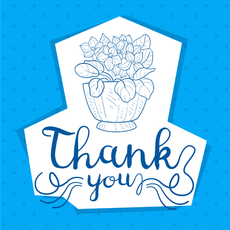 Thank You Handwritten Inscription, Card with Flowers, Design Element Can Be Used for Gift or Greeting Card, Invitation, Flyer, Banner, T-shirt Print Hand Drawn Vector Illustration on Blue Background. Illustration