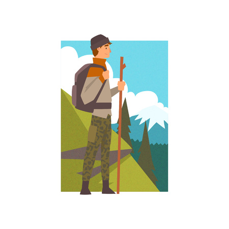 Man Hiking in Mountains with Backpack and Staff, Outdoor Activity, Travel, Camping, Backpacking Trip or Expedition Vector Illustration on White Background.