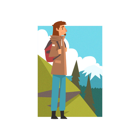 Man with Backpack in Summer Mountain Landscape, Outdoor Activity, Travel, Camping, Backpacking Trip or Expedition Vector Illustration on White Background. Stock Illustratie