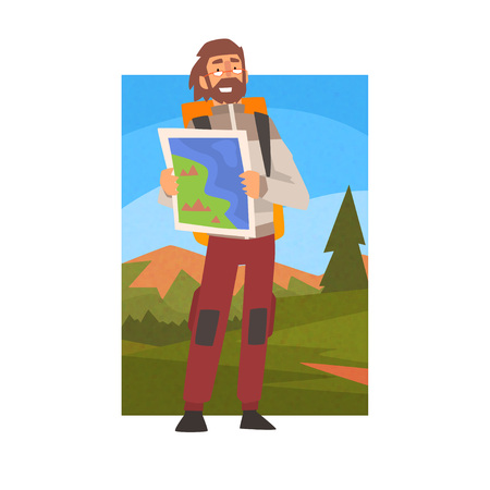 Man with Backpack Looking Through Binoculars, Guy in Summer Mountain Landscape, Outdoor Activity, Travel, Camping, Backpacking Trip or Expedition Vector Illustration on White Background. Stock Illustratie