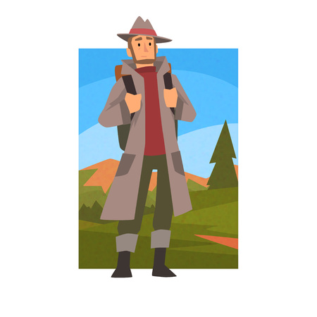 Man Wearing Raincoat Travelling with Backpack, Male Traveller in Summer Mountain Landscape, Outdoor Activity, Travel, Camping, Backpacking Trip or Expedition Vector Illustration on White Background. Stock Illustratie