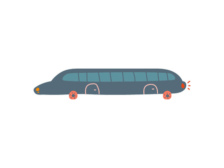 Black Limousine Car, Side View, Cartoon Vector Illustration on White Background.