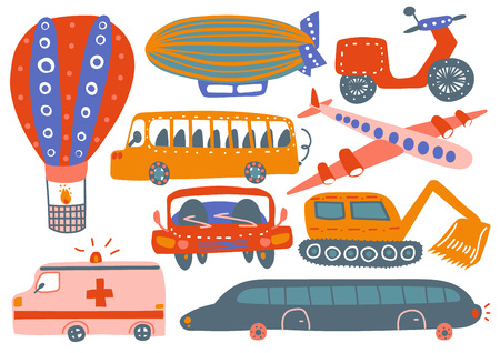 Collection of Various Transport Vehicles, Hot Air Balloon, Airship, Plane, Ambulance Car, Excavator, Bus, Motorbike Cartoon Vector Illustration