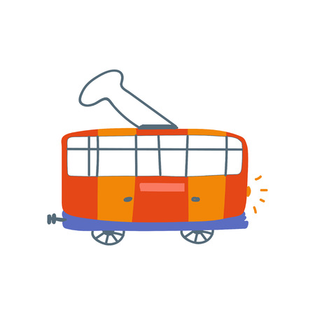 Red Electric Tram, Sife View, Cartoon Vector Illustration on White Background. Иллюстрация