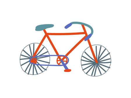 Road Bike, City Bicycle Cartoon Vector Illustration