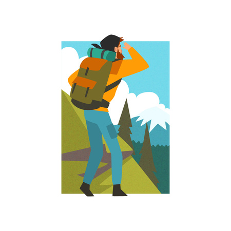 Man with Backpack Looking into Distance in Summer Mountain Landscape, Outdoor Activity, Travel, Camping, Backpacking Trip or Expedition Vector Illustration on White Background. Stock Illustratie