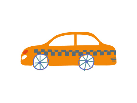 Yellow Taxi Car, Taxi Service, Side View, Cartoon Vector Illustration on White Background.