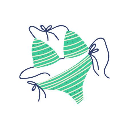 Green Bikini, Female Trendy Swimwear, Summer Travel Symbol Vector Illustration on White Background.