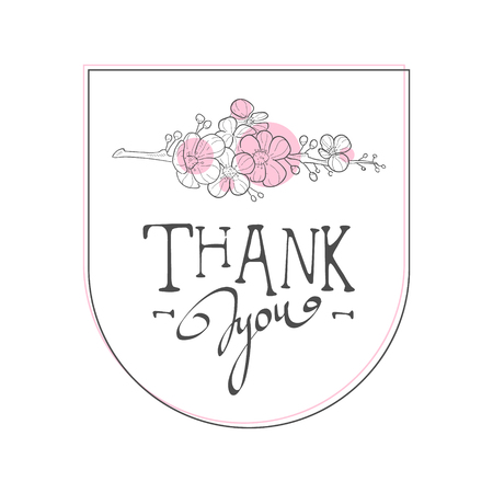 Thank You Handwritten Inscription, Elegant Design Element Can Be Used for Gift or Greeting Card, Invitation, Flyer, Banner, T-shirt Print Hand Drawn Vector Illustration on White Background. Illustration