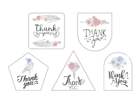 Thank You Cards with Handwritten Inscription, Design Element Can Be Used for Gift or Greeting Card, Invitation, Flyer, Banner, T-shirt Print Hand Drawn Vector Illustration Illustration