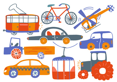 Collection of Various Transport Vehicles, Tram, Bike, Helicopter, Cable Car, Tractor, Truck, Cartoon Vector Illustration