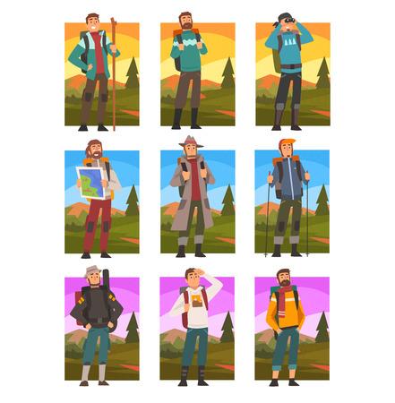 Touristes masculins faisant de la randonnée dans les montagnes avec un ensemble de sacs à dos, des gens dans un paysage de montagne d'été, une activité de plein air, un voyage, un camping, un voyage de randonnée ou une expédition Illustration vectorielle sur fond blanc.