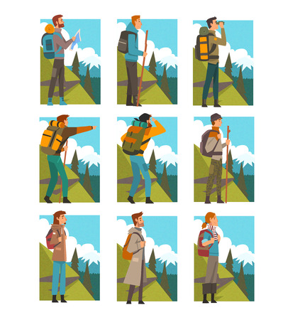 Tourists Hiking in Mountains with Backpacks Set, People in Summer Mountain Landscape, Outdoor Activity, Travel, Camping, Backpacking Trip or Expedition Vector Illustration