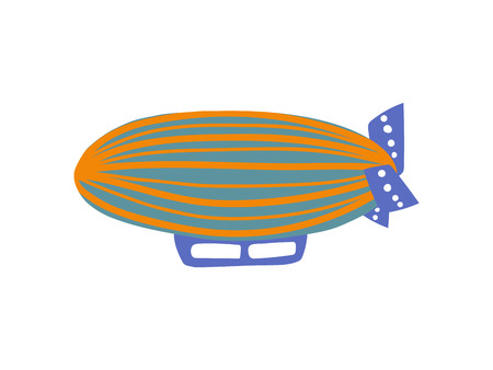 Cute Vintage Airship, Air Vehicle Cartoon Vector Illustration on White Background.