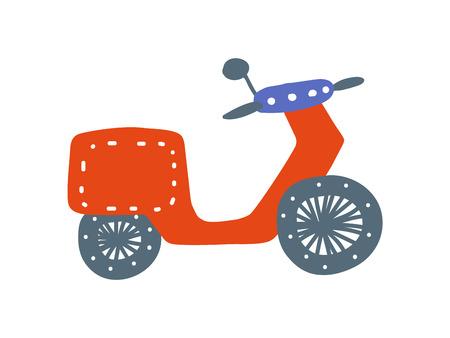 Red Retro Motorbike, Side View, Cartoon Vector Illustration on White Background. Illustration