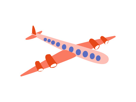 Airplane, Flying Aaircraft, Side View, Cartoon Vector Illustration on White Background.